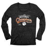 Clemson Tigers Blue 84 Women's College Football Playoff 2016 National Champions Tri-Blend Long Sleeve T-Shirt - Heathered Black