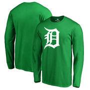 Detroit Tigers Fanatics Branded St. Patrick's Day White Logo Long Sleeve T-Shirt - Kelly Green