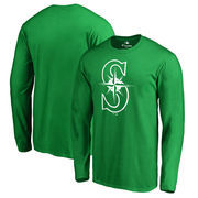 Seattle Mariners Fanatics Branded St. Patrick's Day White Logo Long Sleeve T-Shirt - Kelly Green