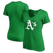 Oakland Athletics Fanatics Branded Women's Plus Size St. Patrick's Day White Logo V-Neck T-Shirt - Kelly Green