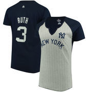 Babe Ruth New York Yankees Majestic Women's Cooperstown Collection From the Stretch Name & Number T-Shirt - Gray