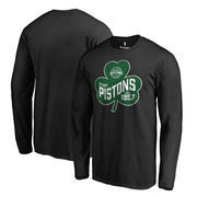 Detroit Pistons Fanatics Branded Big & Tall St. Patrick's Day Paddy's Pride Long Sleeve T-Shirt - Black