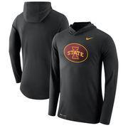 Iowa State Cyclones Nike Tri-Blend Performance Hooded Long Sleeve T-Shirt - Black