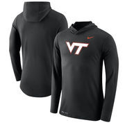 Virginia Tech Hokies Nike Tri-Blend Performance Hooded Long Sleeve T-Shirt - Black