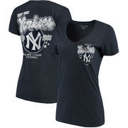 New York Yankees 5th & Ocean by New Era Women's Cooperstown Collection Tri-Blend V-Neck T-Shirt - Heathered Navy