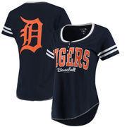 Detroit Tigers 5th & Ocean by New Era Women's Slub Henley T-Shirt - Navy/White