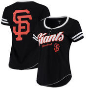 San Francisco Giants 5th & Ocean by New Era Women's Slub Henley T-Shirt - Black/White
