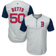 Mookie Betts Boston Red Sox Majestic Big & Tall Pinstripe Player T-Shirt - Gray/Navy