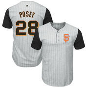Buster Posey San Francisco Giants Majestic Big & Tall Pinstripe Player T-Shirt - Gray/Black