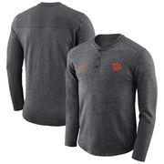 Clemson Tigers Nike Henley Long Sleeve T-Shirt - Heathered Charcoal