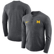 Michigan Wolverines Nike Henley Long Sleeve T-Shirt - Charcoal