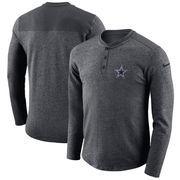 Dallas Cowboys Nike Seasonal Henley Long Sleeve T-Shirt - Heathered Charcoal