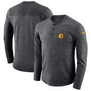 Pittsburgh Steelers Nike Seasonal Henley Long Sleeve T-Shirt - Charcoal