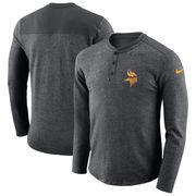 Minnesota Vikings Nike Seasonal Henley Long Sleeve T-Shirt - Charcoal