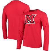 Miami University RedHawks adidas Logo Ultimate Performance Long Sleeve T-Shirt - Red