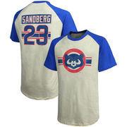 Ryne Sandberg Chicago Cubs Majestic Threads Cooperstown Collection Hard Hit Player Name & Number Raglan T-Shirt - Cream/Royal