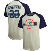 Don Mattingly New York Yankees Majestic Threads Cooperstown Collection Hard Hit Player Name & Number Raglan T-Shirt - Cream/Navy