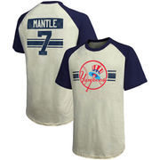 Mickey Mantle New York Yankees Majestic Threads Cooperstown Collection Hard Hit Player Name & Number Raglan T-Shirt - Cream/Navy
