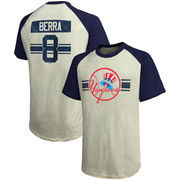 Yogi Berra New York Yankees Majestic Threads Cooperstown Collection Hard Hit Player Name & Number Raglan T-Shirt - Cream/Navy