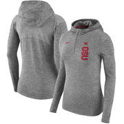 Ohio State Buckeyes Nike Women's Dry Element Performance Quarter-Zip Pullover Hoodie - Heathered Charcoal