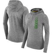 Oregon Ducks Nike Women's Dry Element Performance Quarter-Zip Pullover Hoodie - Heathered Charcoal