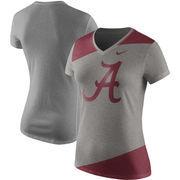 Alabama Crimson Tide Nike Women's Championship Drive Performance Tri-Blend Mid V-Neck T-Shirt - Heathered Gray/Crimson