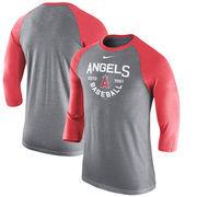 Los Angeles Angels Nike Tri-Blend 3/4-Sleeve Raglan T-Shirt – Heathered Charcoal