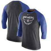 Milwaukee Brewers Nike Tri-Blend 3/4-Sleeve Raglan T-Shirt – Heathered Charcoal