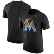 Miami Marlins Nike Tri-Blend T-Shirt - Heathered Black