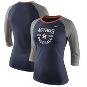 Houston Astros Nike Women's Tri-Blend Raglan 3/4-Sleeve T-Shirt – Heathered Navy