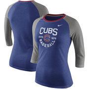 Chicago Cubs Nike Women's Tri-Blend Raglan 3/4-Sleeve T-Shirt – Heathered Royal