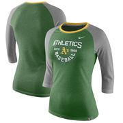 Oakland Athletics Nike Women's Tri-Blend Raglan 3/4-Sleeve T-Shirt – Heathered Green