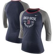 Boston Red Sox Nike Women's Tri-Blend Raglan 3/4-Sleeve T-Shirt – Heathered Navy