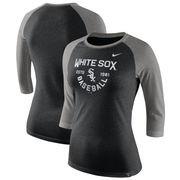 Chicago White Sox Nike Women's Tri-Blend Raglan 3/4-Sleeve T-Shirt – Heathered Black