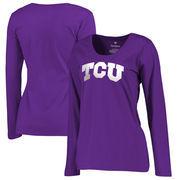 TCU Horned Frogs Fanatics Branded Women's Plus Sizes Gradient Logo Long Sleeve T-Shirt - Purple