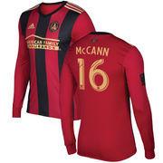 Chris McCann Atlanta United FC adidas 2017 5-Stripe Primary Authentic Long Sleeve Jersey - Red/Black