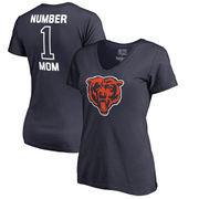 Chicago Bears NFL Pro Line by Fanatics Branded Women's #1 Mom V-Neck T-Shirt - Navy