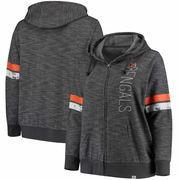 Cincinnati Bengals Majestic Women's Plus Size Athletic Tradition Team Wordmark Full-Zip Hoodie – Gray