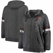 Cleveland Browns Majestic Women's Plus Size Athletic Tradition Team Wordmark Full-Zip Hoodie – Gray