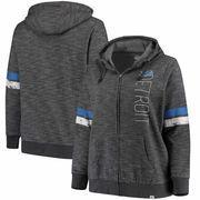 Detroit Lions Majestic Women's Plus Size Athletic Tradition Team Wordmark Full-Zip Hoodie – Gray