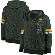 Green Bay Packers Majestic Women's Plus Size Athletic Tradition Team Wordmark Full-Zip Hoodie – Green