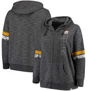 Pittsburgh Steelers Majestic Women's Plus Size Athletic Tradition Team Wordmark Full-Zip Hoodie – Gray