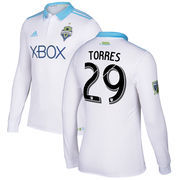 Roman Torres Seattle Sounders FC adidas 2017 Secondary Authentic Long Sleeve Jersey - White