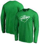 Minnesota Wild Fanatics Branded St. Patrick's Day White Logo Long Sleeve T-Shirt - Kelly Green