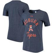 Auburn Tigers Under Armour Women's Tri-Blend Crew Performance T-Shirt - Heathered Navy