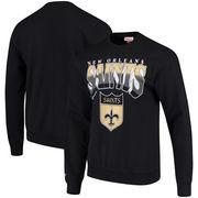 New Orleans Saints Mitchell & Ness Rushing Line Pullover Sweatshirt - Black