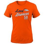 Von Miller Denver Broncos Girls Youth Glitter Live Love Team Player Name & Number T-Shirt - Orange