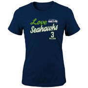 Russell Wilson Seattle Seahawks Girls Youth Glitter Live Love Team Player Name & Number T-Shirt - Navy