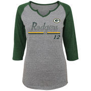 Aaron Rodgers Green Bay Packers Women's Juniors Over the Line Player Name & Number Tri-Blend 3/4-Sleeve V-Notch T-Shirt - Heathe