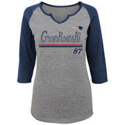 Rob Gronkowski New England Patriots Women's Juniors Over the Line Player Name & Number Tri-Blend 3/4-Sleeve V-Notch T-Shirt - He